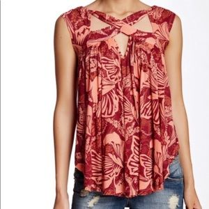 Free People red Tropical Breeze criss cross tank